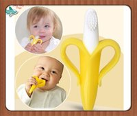 baby banana brush - Silicone Banana Toothbrush High Quality And Environmentally Safe Baby Teether Teething Ring Soft Brush Training Eco friendly