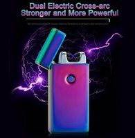 Wholesale 20PCS Usb charging ultra thin windproof lighters double arc pulse arc creative personality electronic cigarette lighter colors