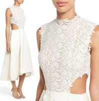 achat en gros de robes de guipure-Coupe latérale thé longueur robes de mariée 2017 Monique Lhuillier Guipure dentelle soie Gazar haute cou doudoune plissée jupe plissé robe de mariée