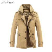 Men army pea coat - New Arrival Trench Men Coat Winter Thicken Fur Jacket Turn Down Collar Pea Coat Army Green Black Khaki Plus Size XL XL