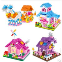 Wholesale 2sets DIY children Hand Assembled Plastic Building Blocks Puzzle toys Princess House Block Toy for Kids