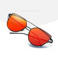 Wholesale 2017 Best Hot Fashion Brand Sunglasses For Women Glasses Cat Eye Sun Glasses Male Mirror Sunglasses Men Female Vintage Gold Sunglasses