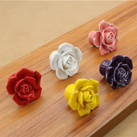 Wholesale 5 Colors rose Ceramic handle Kitchen Cabinets Knobs Bedroom Cupboard Drawers Ceramic Door Pull Handles With Screws cm