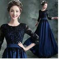annual flowers pictures - long dress The new long sleeve wedding dress in dark blue Annual dinner show host