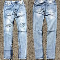 Men best denim jeans - Best Version FOG Style Men Selvedge Zipper Destroyed Skinny Slim Fit Vintage Ripped Blue Denim Jeans US Size