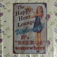 L'heure heureuse Louge Vintage Decorative Craft Tin Sign Rétro Metal Painting Antique Affiche Bar Pub Signs Wall Art
