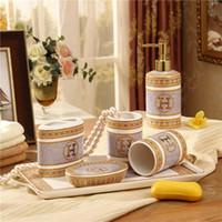 Wholesale Porcelain bathroom sets magnesia porcelain quot H quot mark mosaic design oval shape six piece set accessories bathroom set wedding gift