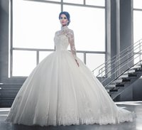 Wholesale 2016 Wedding Dresses Long Sleeves Bridal Ball Dresses High Neck Tulle Applique Beaded Court Train Bridal Gowns Illusion Bodice Wedding Dress