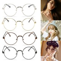 Wholesale- Chic Eyeglasses Retro Big Round Metal Frame Verres transparents Lunettes Nerd Black, Silver, Gold, Copper