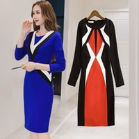 Wholesale 2017 Spring new Europe the long paragraph women s official dress High grade long sleeved business professional skirt Hit color Splicing thin