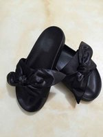 Women black leather bandana - 2017 HOT Sale Send With BOX And Dust bags rihanna X Fenty Bandana Slides fur slippers Sandals size