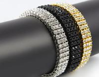 Wholesale Men s Black Gold Silver Finish Row Diamond Simulate Bracelet quot mm Rhinestone Iced Out Hip Hop Bling Bracelet Cool Jewelry