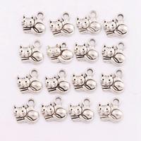 Gatos de perlas Baratos-Joyería hecha a mano de la aleación de la joyería 14x14 milímetro de la antigüedad de plata antigua del encanto del espaciador del gato de los granos de los granos aleación DIY L1153