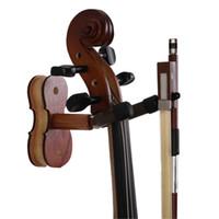 Wholesale Wood Violin Hanger with Bow Hanger Hardwood Home Studio Wall Mount Hanger for Violin Rose Wood