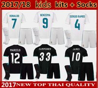 trousses de football achat en gros de-Nouveaux 2017 2018 enfants Kits Real Madrid home Soccer Jersey 17 18 Campeones Ronaldo Bale Football uniformes SERGIO RAMOS ISCO Away Football Shirts