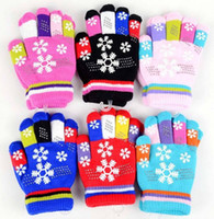 Wholesale Winter Style Snowflake Pattern Years Children s Finger Gloves Colors Double Design Keep Warm Comfortable Wear