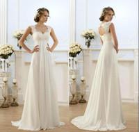 Wholesale 2017 Beach Bridal Dress A line Wedding Dresses Cheap Maternity Cap Sleeve Keyhole Lace Up Backless Chiffon Summer Pregnant Bridal Gowns