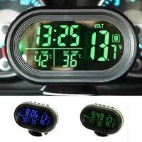 Wholesale New V V Digital Auto Car Thermometer Car Battery Voltmeter Voltage Meter Tester Monitor Noctilucous Clock Freeze Alert