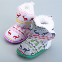 baby bootie heels - Winter Boots Girl Baby Boots Snow Shoes Warm Knitted Baby Shoes Christmas Elk Snow Boots Warm Winter Bootie Toddler Shoes Fit Unisex Boots