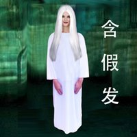 Wholesale 2016 terror Halloween costume White red zhen son take a wig female the ghost bride zombie ghost cos party bar