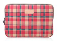 Wholesale Fashion grid Notebook Laptop Sleeve Case Carry Bag Ipad case bag red
