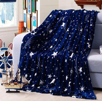 Wholesale High Density Super Soft Flannel Blanket to on for the sofa bed textile cute plush wool fluffy blue green stars boys blanket