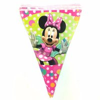 Wholesale Flag banner paper card minnie mickey mouse party supplies kids birthday decorations hanging flags baby shower favors