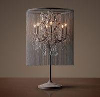 Wholesale America Style Vintage Industrial Table Lamp Crystal Restro Beside Lamp Bedroom office Desk Light Lustres de cristsal Abajur Fixture