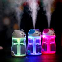 Wholesale 2016 Hot Maneki Neko cat humidifier colours crystal led luminous light USB mute purification home office atomizer DHL Free