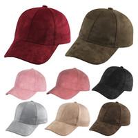 adjustable es - Fashion New Men Women Suede Baseball Cap Snapback Visor Sport Sun Adjustable Hat ES For Unisex