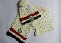 Wholesale HXF set color brand Monc men women warm wool prad hat knitted Hats Scarves Sets cm
