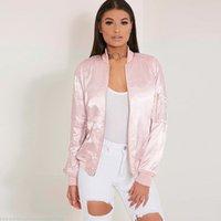 Wholesale 2016 winter spring women bomber jacket female Pink flight suit casual jacket women coat Long Sleeve women zipper coat