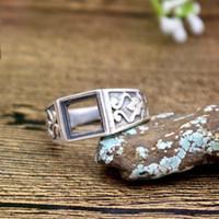 Sterling Silver bezel set princess - 8X8mm Princess Cabochon Art Nouveau Antique Sterling Silver Fashion Men Ring Fine Silver Jewelry Setting