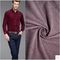 al por mayor denim teñido de hilados-2016 Italia diseño lijado teñido flannelette solo lado denim camisa casual tela de tela, 1 piezas de 1 metros