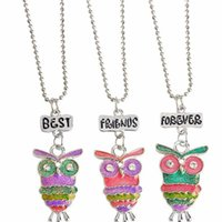 Bohemian beaded owl necklace - Best Friends Forever BFF pendant charm beaded chain multi mix colorful epoxy glitter glass kids cute lovely owl necklace pc set