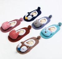 animal socks baby shoes - 2016 Newest Autumn and Winter Baby Kids Warm Coral Fleece Cute Cartoon Animal Non slip Home Floor Socks Children Shoes Socks