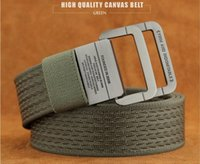 Wholesale 2017 NEW Arrival Military Equipment Tactical Belt Man Double Ring Buckle Thicken Canvas Belts for Men Waistband