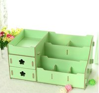 Wholesale Big size dual drawer and Korean style DIY wood comestic and desk storage boxes Bins