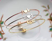 Ampersand inoxydable en acier inoxydable Bracelet Bracelet Cadeau nuptiale personnalisé Cadeau personnalisé de demoiselle d'honneur Lovers Brides Letter