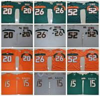 Wholesale 2017 Miami Hurricanes Brad Kaaya College Football Jerseys Sean Taylor Ray Lewis Ed Reed Green College Football Jerseys Cheap
