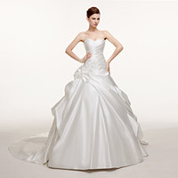 Wholesale Vestido De Novia Fast Shipping Ball Gown Strapless Beaded Ruched Organza Skirt Corset Bodice Cheap Wedding Dress Bride Dress