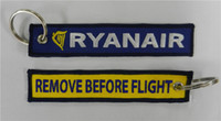 Wholesale Ryanair Remove Before Flight Fabric Embroidered Key Tags x cm