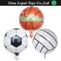 basketball birthday decorations - 10pcs inch Football Foil Balloon Soccer Volleyball basketball Helium Balloons Birthday party decoration Globos kid s toy