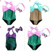 Bikinis Girl Children's Day Kids Mermaid Swimsuit Baby Bodysuit Costume Girls Swimwear Mermaid Tail Bikini Set Swimmable Bathing Suit Monokini Bowknot Beachwear B1572