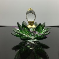 Wholesale crafts Ornaments decoration Hand Hammered crystal glass lotus flower perfume bottle arttar oil scent empty glass bottle
