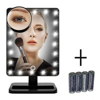 Wholesale Adjustable Vanity Tabletop Lamp LEDs Lighted LED Touch Screen Mirror Makeup Portable Mirror Luminous Rotating Mirror