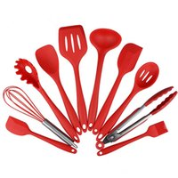 Wholesale 2016 Amazon hot selling red titanium cookware set siliconeware sets FDA food grade silicone meal kitchen cookware silicone