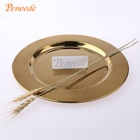 Wholesale Peneede Classic Stainless Steel Charger Plates Service Dinner Gold Silver Charger Plate Wedding Party Holiday Decoration