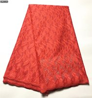 african dry lace - Latest Embroidered swiss voile lace hot sale african swiss dry lace fabric for wedding red ZR01