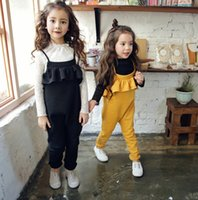 Wholesale Everweekend Girls Ruffles Overalls Pants Spring Fall Yellow and Black Color Children Pants Trousers Western Fashion Clothing